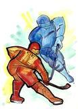 karcianej epizodu formy hokejowy czerwony arbiter pokazywać bałwanu obraz stock