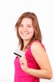 karcianej kredytowej dziewczyny szczęśliwi potomstwa Obrazy Royalty Free