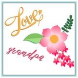Karciani dni dziadkowie inskrypcja z miłością, piękny przepływ Zdjęcia Stock