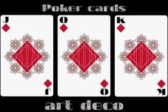 karciany bawić się grzebak Jack diament Królowa diament King Diamond Grzebak karty w art deco stylu Zdjęcia Stock
