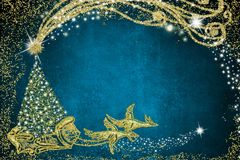 karciany bożego narodzenia powitanie Święty Mikołaj sanie obraz royalty free
