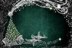 karciany bożego narodzenia powitanie Święty Mikołaj sanie zdjęcie royalty free