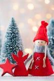 karciany bożego narodzenia powitanie Gnomu świąteczny tło Nowego roku symb Obrazy Stock