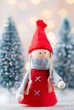 karciany bożego narodzenia powitanie Gnomu świąteczny tło Nowego roku symb Zdjęcie Royalty Free