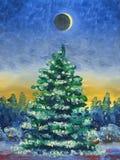 karciany bożego narodzenia powitanie Obraz Olejny i technologia cyfrowa Choinka zakrywająca z śniegiem na tle lasowy Ev royalty ilustracja