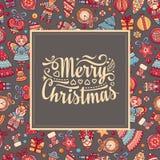 karciany bożego narodzenia powitanie Ornament dekoruje ilustracja wektor