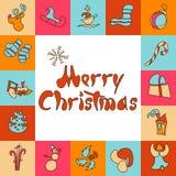 karciany bożego narodzenia powitanie Set wizerunki dla 2017 i nowego roku wieczór swiat również zwrócić corel ilustracji wektora Obrazy Stock
