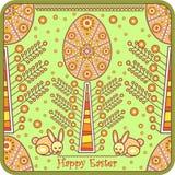 karciany dekoracyjny Easter jajka powitanie Zdjęcia Stock