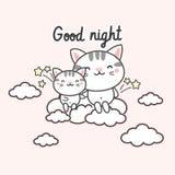 karciany dobranoc Śliczni koty na chmurze ilustracja wektor