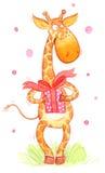 karciany kreskówki żyrafy powitanie Fotografia Stock