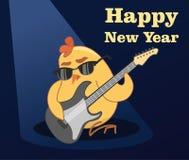 karciany nowy wektorowy rok cockerel bawić się gitarę ilustracja wektor