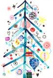 karciany powitania s sezonu drzewo Zdjęcia Royalty Free