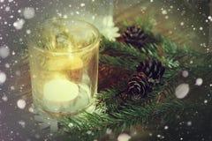 Karciany retro gałęziasty candlestick rożka płatek śniegu Zdjęcie Royalty Free