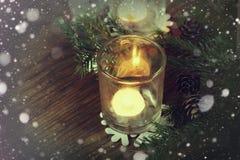 Karciany retro gałęziasty candlestick rożka płatek śniegu Fotografia Royalty Free