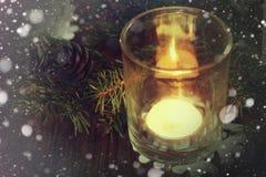 Karciany retro gałęziasty candlestick rożka płatek śniegu Zdjęcie Stock
