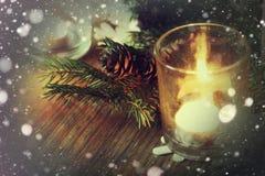Karciany retro gałęziasty candlestick rożka płatek śniegu Obraz Royalty Free