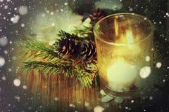 Karciany retro gałęziasty candlestick rożka płatek śniegu Obrazy Royalty Free