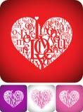 karciany składu powitania miłości typeface Fotografia Stock