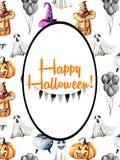Karciany szablon, owal rama na akwareli Halloween tle ilustracji