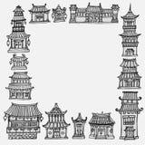 Karciany szablon z azjatykcimi świątyniami i rezydencja ziemska domami Ilustracja Wektor