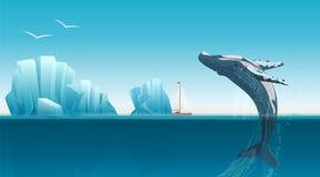 Karciany szablon z wielorybim doskakiwaniem pod błękitną ocean powierzchnią blisko gór lodowa Zimy arktyczna wektorowa ilustracja Zdjęcia Royalty Free