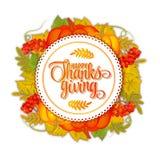 karciany szczęśliwy dziękczynienie Ręka rysujący świętowanie wycena ` dziękczynienia Szczęśliwy ` kolor liście jesienią Round ety ilustracji