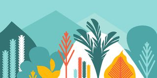 Karciany sztandaru zaproszenie z tropikalny kształtować teren zasadza drzewo góry i wzgórza Konserwacja środowisko, ekologia ilustracja wektor