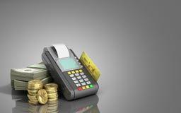 Karciany terminal na stertach dolarowi rachunki z bank kartą inside Zdjęcia Stock