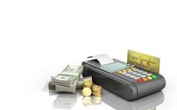 Karciany terminal na stertach dolarowi rachunki z bank kartą inside Fotografia Royalty Free