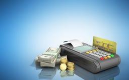 Karciany terminal na stertach dolarowi rachunki z bank kartą inside Zdjęcie Royalty Free