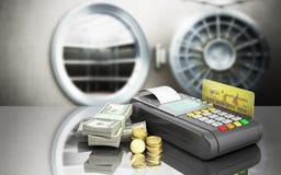 Karciany terminal na stertach dolarowi rachunki z bank kartą inside Zdjęcie Stock
