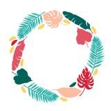 Karciany zaproszenie sztandar z kaktusów sukulentami i tropikalnymi liśćmi Rama z tropikalnymi roślinami Mammilia kłującej bonkre ilustracja wektor