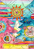 karcianych bożych narodzeń dekoracyjni drzewa Obrazy Stock