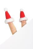 karcianych jasnych powitania kapeluszy nowy s Santa rok Obraz Royalty Free