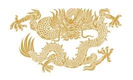2012 karcianych smoka złocistych ilustracyjnych nowych wektorowych rok Zdjęcie Stock