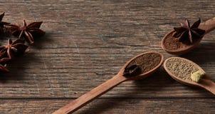 Kardemom, kruidnagels, steranijsplant Maalde kruiden in houten lepels Dif royalty-vrije stock foto's