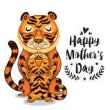 Kardieren Sie für Mutter-Tag mit Tigern Stockfoto