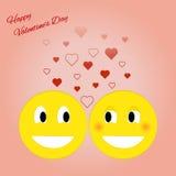 Kardieren Sie für Valentinsgruß-Tag mit smiley Auch im corel abgehobenen Betrag Stockfotos