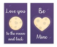 Kardieren Sie für Valentinsgrußtag im Raum mit Mond, Herzen und Text Auch im corel abgehobenen Betrag Stockbilder