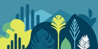 Kardieren Sie Fahneneinladung mit tropischen Landschaftsgestaltungsbetriebsbaumhügeln und -bergen Umweltschutz, Ökologie lizenzfreie abbildung