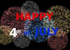 Kardieren Sie glückliches Juli 4. auf bunten Feuerwerken Lizenzfreie Stockfotos