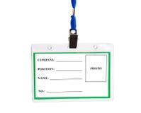 Kardieren Sie leeres Identifikation-Abzeichen Stockfoto