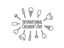 Kardieren Sie mit Bonbonkarikatursüßigkeiten, Lutschern und Handbeschriftungstext - der Tag der glückliche Kinder Vektordesign fü Lizenzfreies Stockfoto