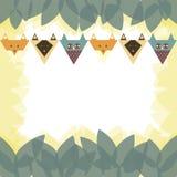 Kardieren Sie, mit stilisiertem Fuchs, Eule, Katze Stockfoto