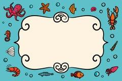 Kardieren Sie Schablone Blaues Meer nahtlos Blaue Karte mit Hummer, Garnelenschnecken, Seekohl und Anker Von Hand gezeichnete Ill Lizenzfreies Stockfoto