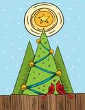 Kardinäle in der Liebe am Weihnachten Lizenzfreies Stockfoto