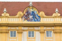 Kardinaltugend auf Giebel von Melk-Abtei, Österreich Lizenzfreies Stockbild