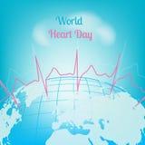 Kardiogram för dag för tryckvärldshjärta royaltyfri illustrationer