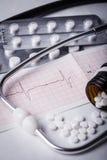 Kardiogram i nitrogliceryna Zdjęcia Stock