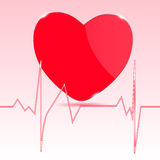 Kardiogram z sercem. Zdjęcie Royalty Free